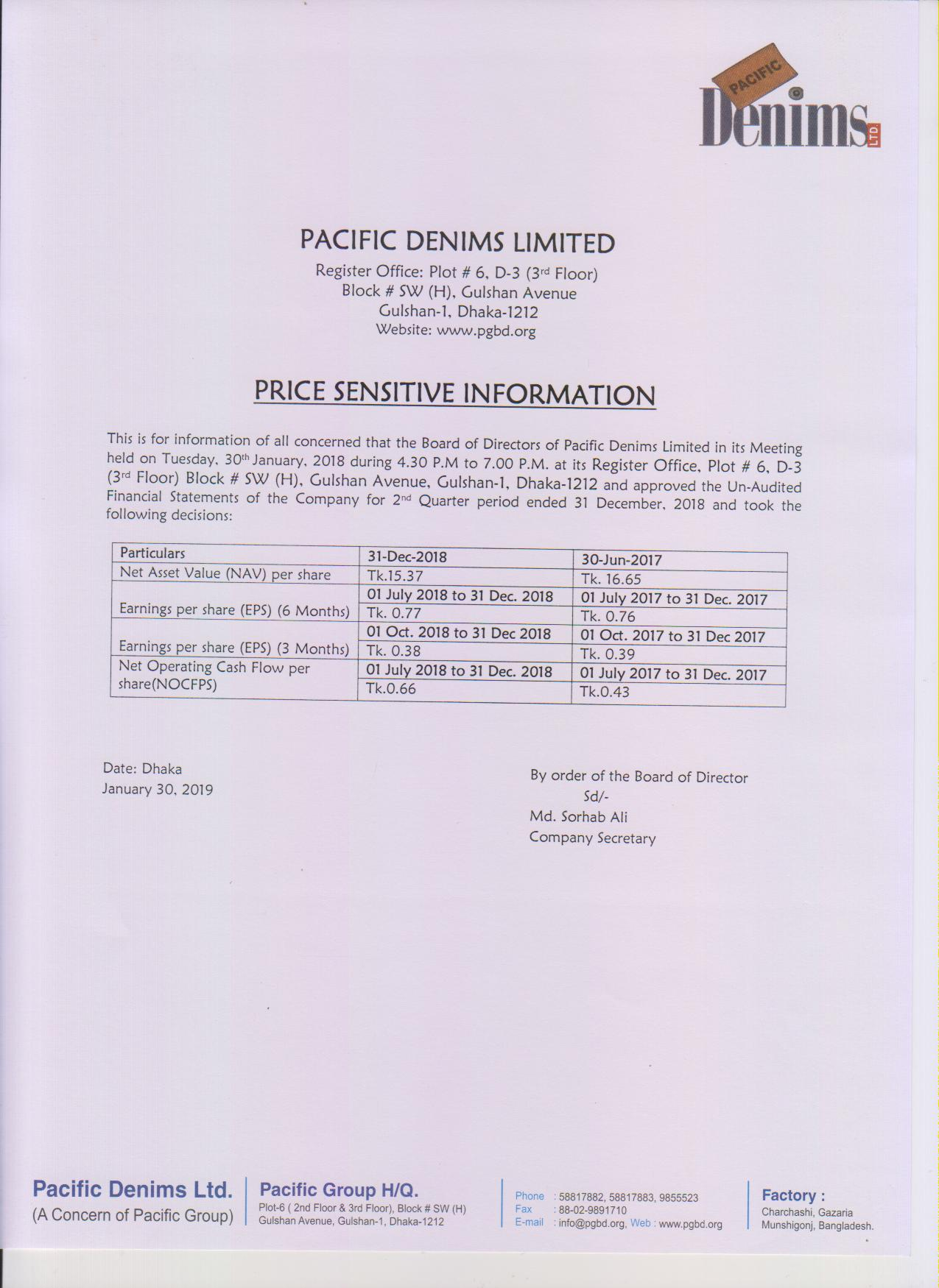 2nd Quarter PSI of Pacific Denims Ltd. ended December 31,2018-page-001