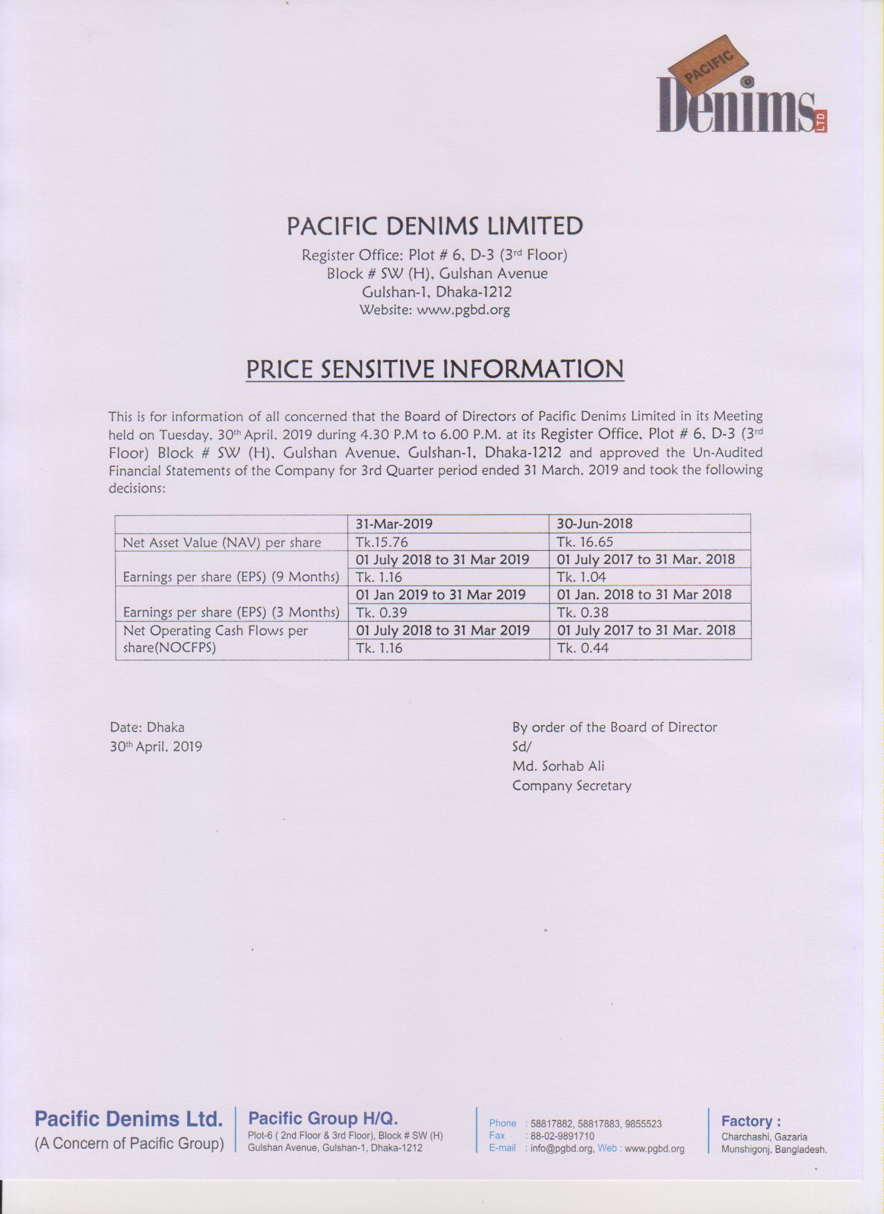 3rd Quarter PSI of Pacific Denims Ltd. for the period ended March 31, 2019-page-001